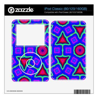 Blue colorful pattern decals for the iPod
