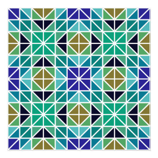 Blue colorful tiled mosaic photo print
