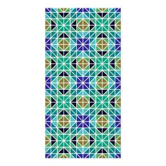 Blue colorful triangle mosaic card