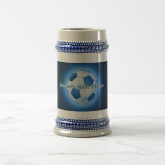 Blue Colorfull Soccer Ball (football) Beer Stein