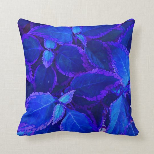 Blue colorized plant coleus throw pillow