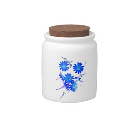 Blue colorized wild flowers scattered design candy jar