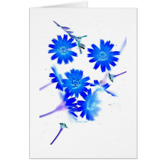 Blue colorized wild flowers scattered design card