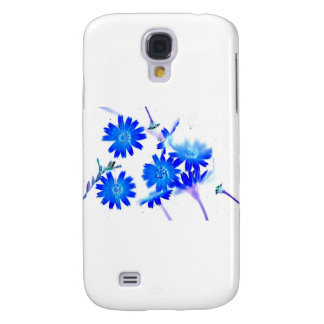 Blue colorized wild flowers scattered design samsung galaxy s4 cover