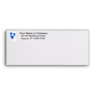 Blue colorized wild flowers scattered design envelope