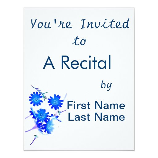 Blue colorized wild flowers scattered design 4.25x5.5 paper invitation card