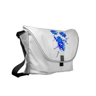 Blue colorized wild flowers scattered design messenger bag