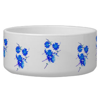 Blue colorized wild flowers scattered design pet water bowl