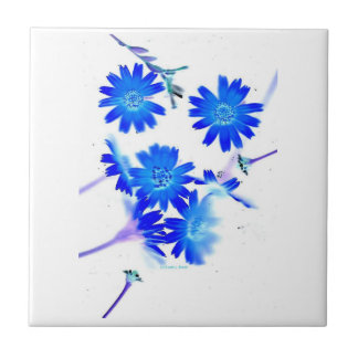 Blue colorized wild flowers scattered design small square tile