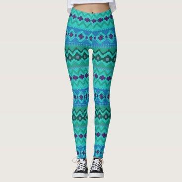Aztec Themed Blue Colors Aztec print Leggings