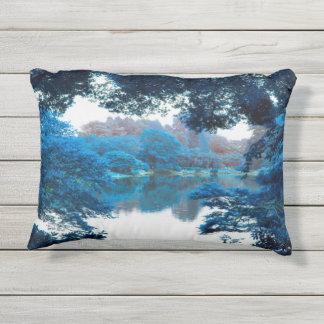 Blue colour effected cool, unique nature, lake outdoor pillow