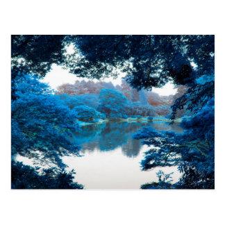 Blue colour effected cool, unique nature, lake postcard