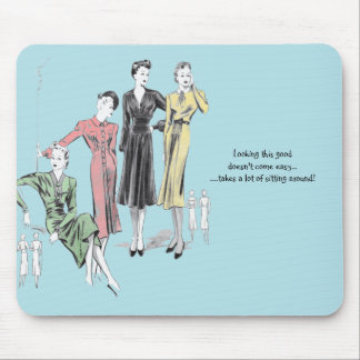 Blue coloured vintage print mouse mat