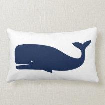 Blue Coloured Whale  - Nautical Lumbar Pillow