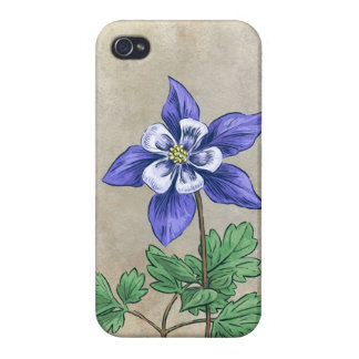 Blue Columbine Flower Art Case For iPhone 4