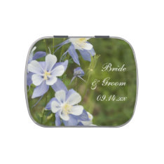 Blue Columbine Flowers Wedding Favor Candy Tin at Zazzle