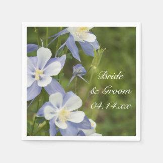 Blue Columbine Flowers Wedding Paper Napkin