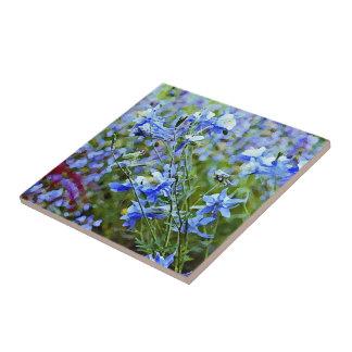 Blue Columbines - Flowers Ceramic Tile