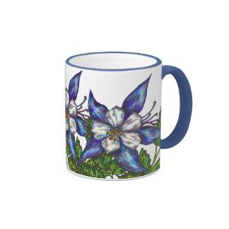 blue columbines ringer coffee mug