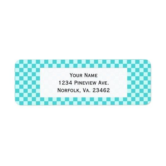 Blue Combination Classic Checkerboard Label