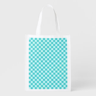 Blue Combination Diamond-Checkerboard Grocery Bags