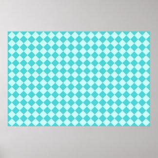 Blue Combination Diamond Pattern Poster