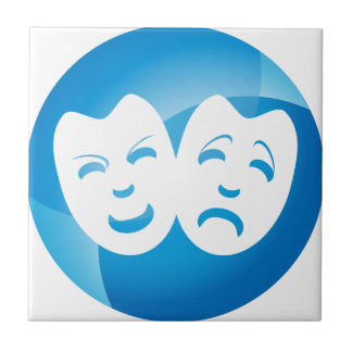 Blue Comedy Tragedy Mask Icon Tile