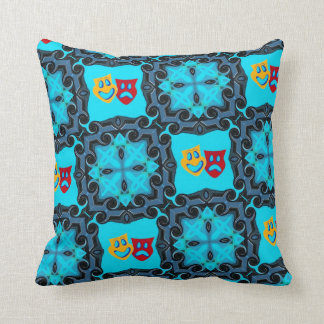 Blue Comedy Tragedy Pillow