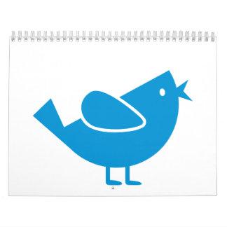 Blue comic bird calendar