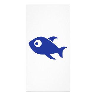 Blue Comic Fish Custom Photo Card