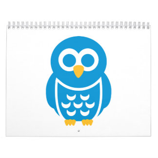 Blue comic owl calendar