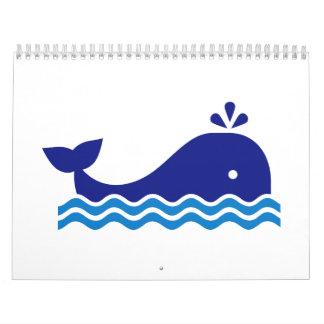 Blue comic whale calendar