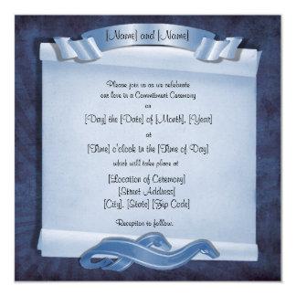 Blue Commitment Ceremony Custom Square Invitations