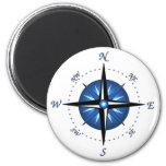 Blue Compass Rose 2 Inch Round Magnet