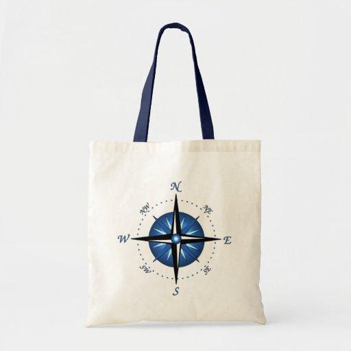 Blue Compass Rose Canvas Bags