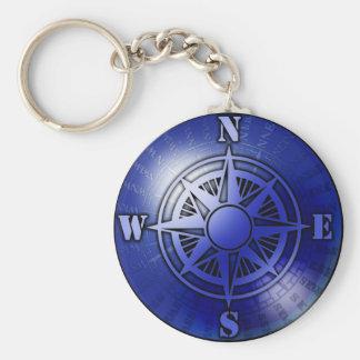 Blue compass rose basic round button keychain