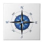 Blue Compass Rose Ceramic Tile