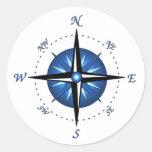 Blue Compass Rose Classic Round Sticker at Zazzle