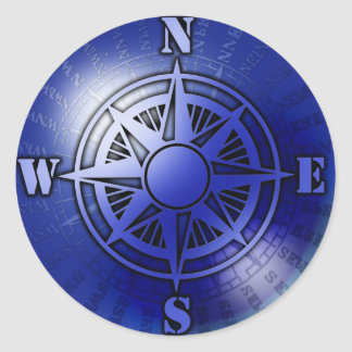 Blue compass rose classic round sticker