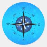 Blue Compass Rose Classic Round Sticker