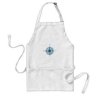 Blue Compass Rose Nautical Icon Adult Apron