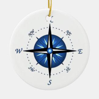 Blue Compass Rose Christmas Ornament