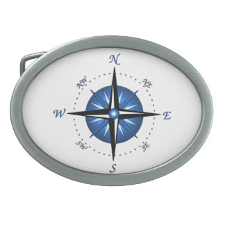 Blue Compass Rose Oval Belt Buckle