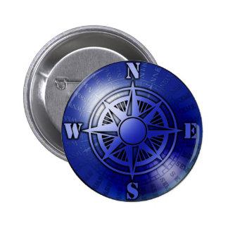Blue compass rose pinback button