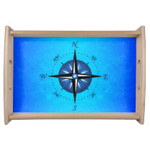 Blue Compass Rose Serving Tray