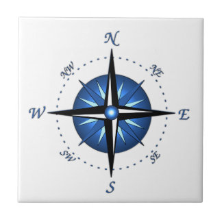 Blue Compass Rose Small Square Tile