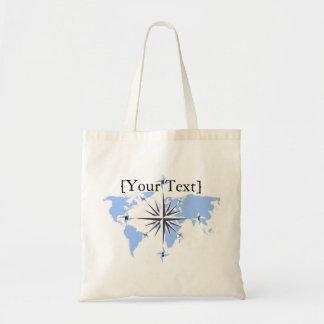 Blue Compass Rose World Map Budget Tote Bag