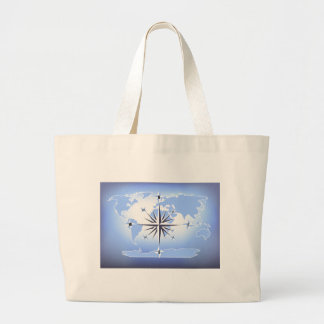 Blue Compass Rose World Map Canvas Tote Bag