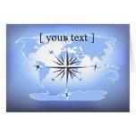 Blue Compass Rose World Map Card