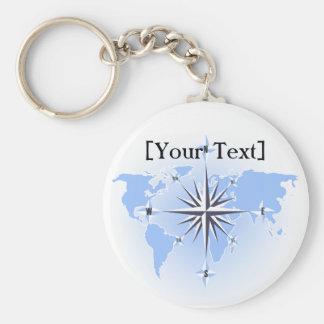 Blue Compass Rose World Map Keychain